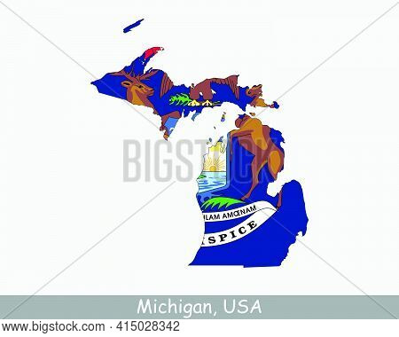 Michigan Map Flag. Map Of Mi, Usa With The State Flag Isolated On White Background. United States, A