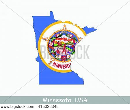 Minnesota Map Flag. Map Of Mn, Usa With The State Flag Isolated On White Background. United States,
