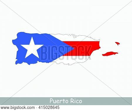 Puerto Rico Map Flag. Map Of The Commonwealth Of Puerto Rico With The Puerto Rican Flag Isolated On