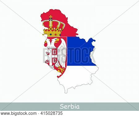 Serbia Flag Map. Map Of The Republic Of Serbia With The Serbian National Flag Isolated On A White Ba