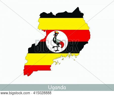 Uganda Flag Map. Map Of The Republic Of Uganda With The Ugandan National Flag Isolated On A White Ba