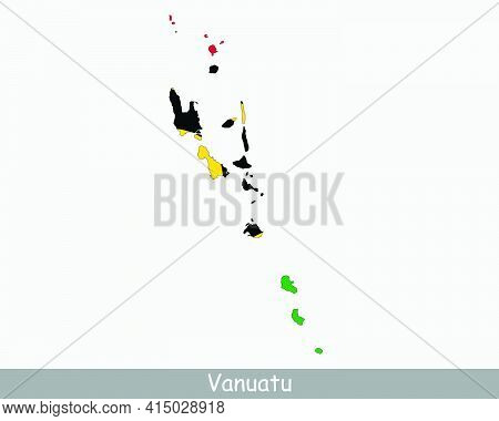 Vanuatu Flag Map. Map Of The Republic Of Vanuatu With The Vanuatuan National Flag Isolated On A Whit