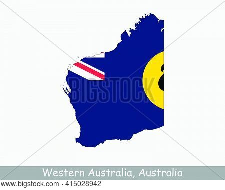 Western Australia Map Flag. Map Of Wa, Australia With The State Flag Isolated On A White Background.