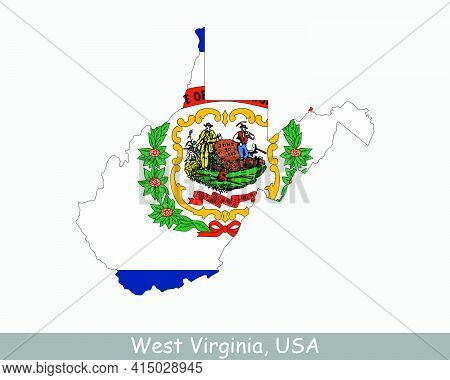 West Virginia Map Flag. Map Of Wv, Usa With The State Flag Isolated On A White Background. United St