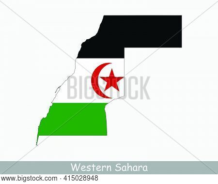Western Sahara Flag Map. Map Of Western Sahara With National Flag Isolated On A White Background. Ve