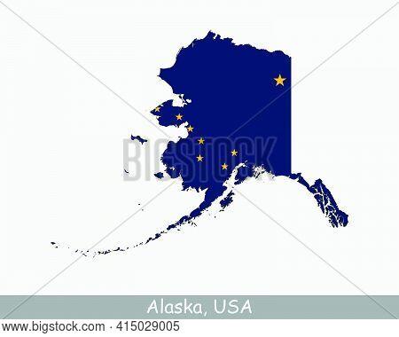 Alaska Map Flag. Map Of Alaska, Usa With The State Flag Of Alaska Isolated On White Background. Unit