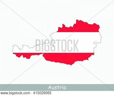Austrian Map Flag. Map Of Austria With The National Flag Of Austria Isolated On White Background. Ve