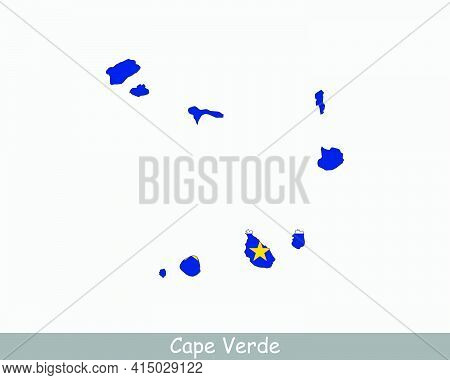 Cape Verde Map Flag. Map Of Cabo Verde With The Cape Verdean National Flag Isolated On White Backgro
