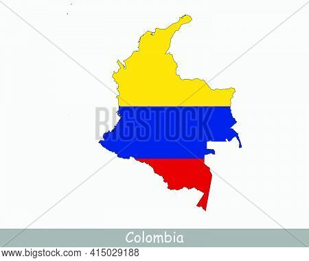 Colombia Map Flag. Map Of Colombia With The Colombian National Flag Isolated On White Background. Ve