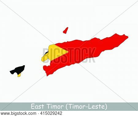 East Timor Map Flag. Map Of Timor-leste With The East Timorese National Flag Isolated On White Backg
