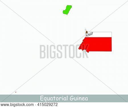 Equatorial Guinea Map Flag. Map Of Equatorial Guinea With The Equatoguinean National Flag Isolated O