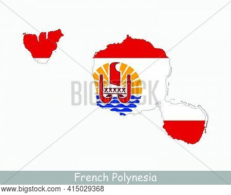 French Polynesia Map Flag. Map Of French Polynesia With Flag Isolated On White Background. Overseas
