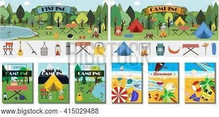 Big Camping Set. Equipment For Hiking, Mountaineering And Camping-a Set Of Icons And Infographics. T