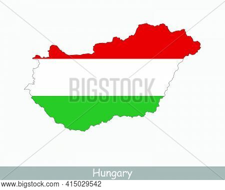 Hungary Map Flag. Map Of Hungary With The Hungarian National Flag Isolated On White Background. Vect