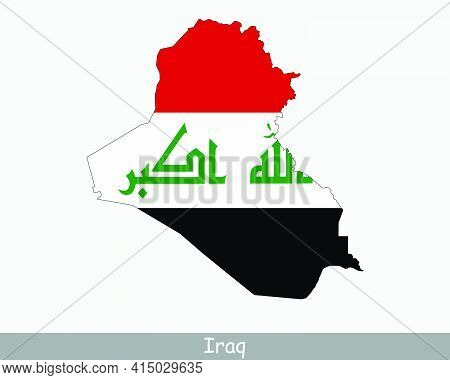 Iraq Map Flag. Map Of The Republic Of Iraq With The Iraqi National Flag Isolated On White Background