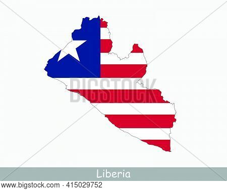 Liberia Map Flag. Map Of The Republic Of Liberia With The Liberian National Flag Isolated On White B