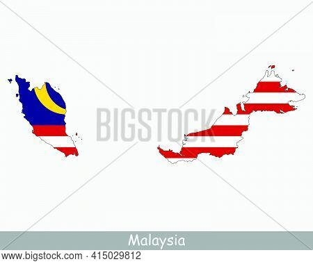 Malaysia Map Flag. Map Of Malaysia With The Malaysian National Flag Isolated On White Background. Ve