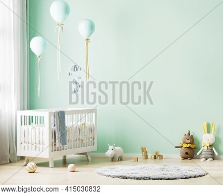 Green Nursery Room Interior Background With Baby Bedding, Toys, Balloons, Nursery Mock Up, Kids Room