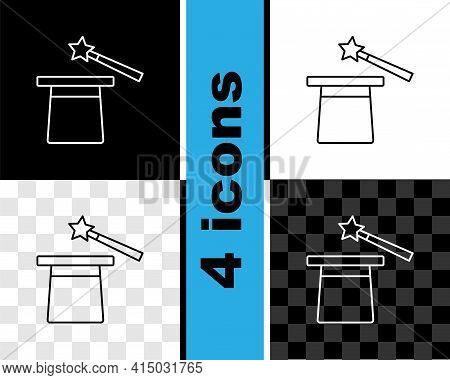 Set Line Magic Hat And Wand Icon Isolated On Black And White, Transparent Background. Magic Trick. M