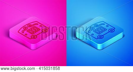 Isometric Line Circus Wagon Icon Isolated On Pink And Blue Background. Circus Trailer, Wagon Wheel.