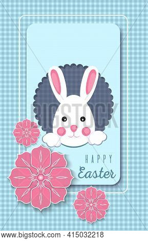 Easter Greeting Card With Cute Bunny On A Blue Background. Vector Illustration