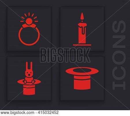 Set Magician Hat, Magic Stone Ring With Gem, Burning Candle In Candlestick And Magician Hat And Rabb