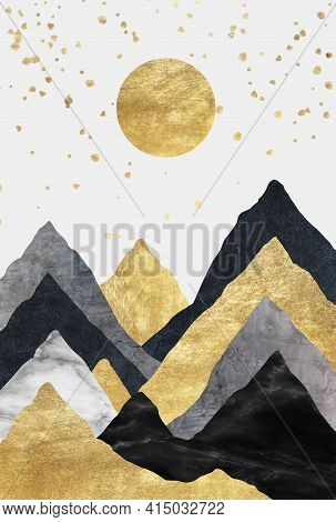 Silhouettes Of Mountains. Abstraction Of Textured Plaster With Gold Elements. Mural, Mural, Wallpape