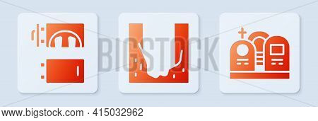 Set Cemetery Digged Grave Hole, Crematorium And Grave With Tombstone. White Square Button. Vector