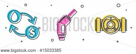 Set Oil Exchange, Water Transfer, Convert, Gasoline Pump Nozzle And Industry Metallic Pipes And Valv