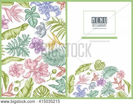 Menu Cover Floral Design With Pastel Monstera, Banana Palm Leaves, Strelitzia, Heliconia, Tropical P