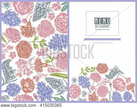 Menu Cover Floral Design With Pastel Peony, Carnation, Ranunculus, Wax Flower, Ornithogalum, Hyacint