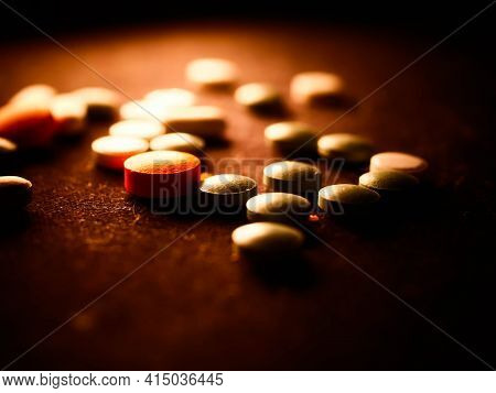 Pharmaceuticals Antibiotics Pills Medicine Colorful Antibacterials Pills On White Background Capsule