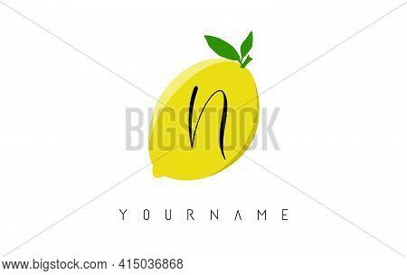 Handwritten N Letter Logo Design With Lemon Background. Creative Vector Illustration With Lemon And