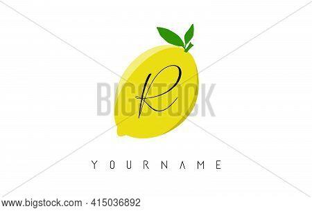 Handwritten R Letter Logo Design With Lemon Background. Creative Vector Illustration With Lemon And