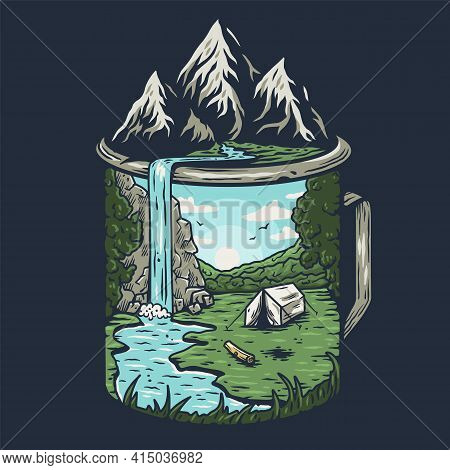 Camping Print. Nature Landscape Outdoor Or Explore