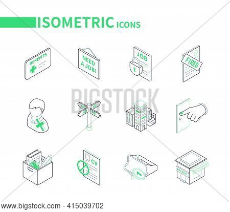 Unemployment And Crisis - Modern Line Isometric Icons Set