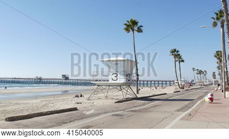 Oceanside, California Usa - 8 Feb 2020: People Walking, Waterfront Promenade Near Pier, Pacific Ocea