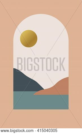 Abstract contemporary aesthetic background with desert landscape, sea, mountains, Sun. Boho decor. Modern print, minimalist wall art . Earth tones, terracotta colors. Mid century style