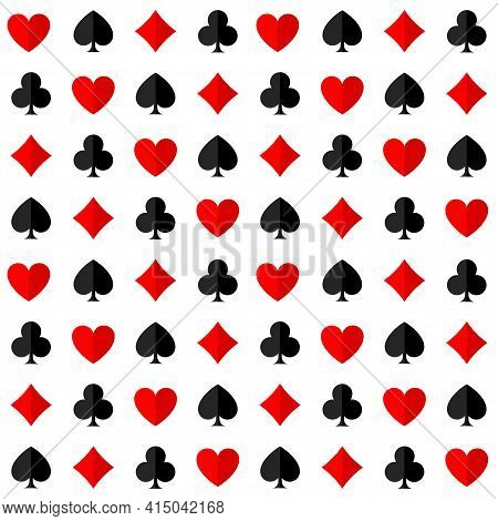 Seamless Pattern With The Suits Of Playing Cards On A White Background. Vector Illustration.