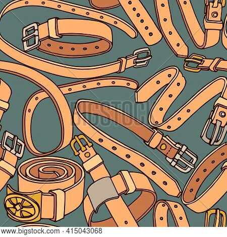 Seamless Pattern Of Simple Leather Belts With Metal Buckles, Pet Collars, Color Vector Illustration
