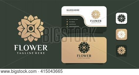 Feminine Minimalist Flower Beauty Logo Design With Business Card Vector Template. Logo Can Be Used F