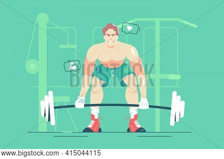 Guy Lifts Heavy Barbell In Gym Vector Illustration. Strong Man Training For Bigger Muscle Flat Style