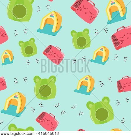 Pet Beds Seamless Pattern. Collection Of Pets Elements. Various Pet Supplies. Cartoon Vector Illustr