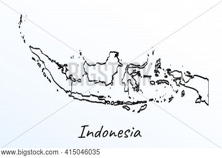 Hand Draw Map Of Indonesia. Black Line Drawing Sketch. Outline Doodle On White Background. Handwriti
