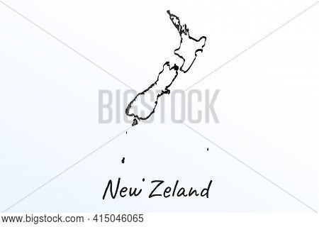 Hand Draw Map Of New Zealand. Black Line Drawing Sketch. Outline Doodle On White Background. Handwri