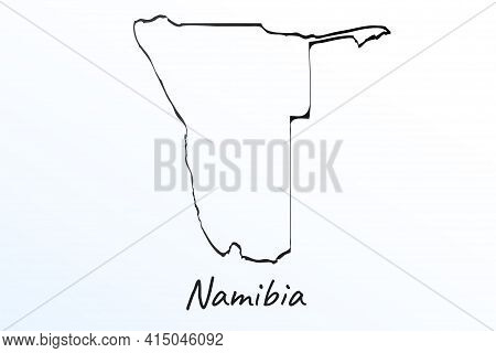 Hand Draw Map Of Namibia. Black Line Drawing Sketch. Outline Doodle On White Background. Handwriting
