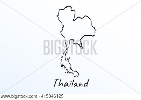 Hand Draw Map Of Thailand. Black Line Drawing Sketch. Outline Doodle On White Background. Handwritin