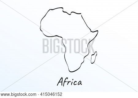 Hand Draw Map Of Africa. Black Line Drawing Sketch. Outline Doodle On White Background. Handwriting