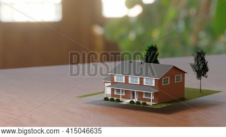 Real Estate Business, Housing Investment. Fancy Suburban House, Abstract Concept. Digital 3d Renderi