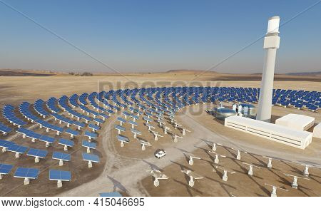 Solar Thermal Energy Plant With A Circular Array Of Collectors. Clean, Sustainable Energy Concept. D